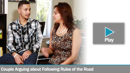 Couple Arguing about Following Rules of the Road